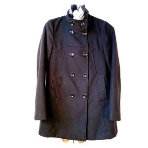 NWOT BLACK WOOL BLEND PEA COAT by NY&Co SIZE SMALL